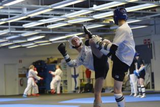 Kaksi taekwondo-ottelijaa harjoituksissa